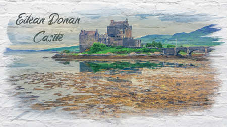 Watercolor of Eilean Donan Castle in Scotland, Europe Stock fotó