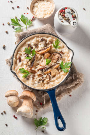 Homemade risotto with boletus mushrooms and parsley on wooden table