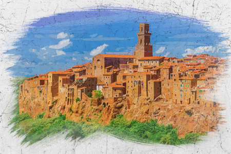 Watercolor painting of old city Pitigliano in Italy, Europe