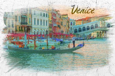 Watercolor painting of Rialto Bridge in Venice, Italy