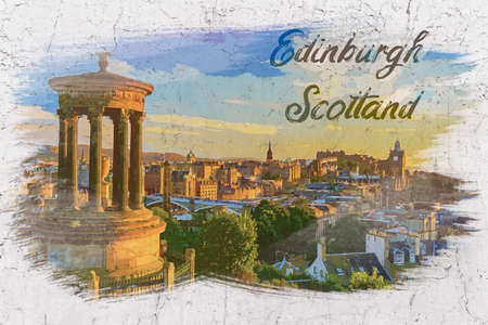View from Calton Hill to Castle in Edinburgh, Scotland, watercolor painting