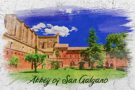Ancient abbey of San Galgano, Italy, watercolor painting