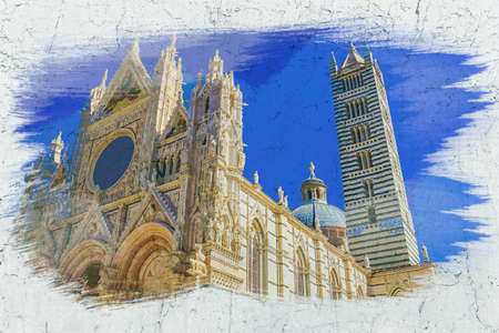 Siena Cathedral on old paper, Italy, watercolor painting