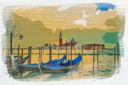 Swinging gondolas on Grand canal in Venice, Italy, watercolor