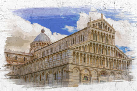 Watercolor painting of ancient monuments in Pisa, Italy Banco de Imagens