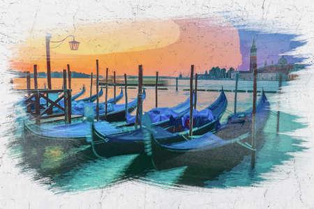 Watercolor painting of swinging gondolas in Venice at sunrise, Italy Banco de Imagens