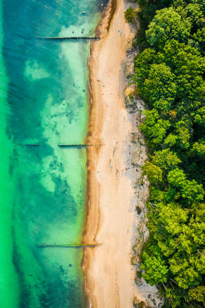 Top down view of beach with turquoise water, Baltic Sea, Poland Stock Photo