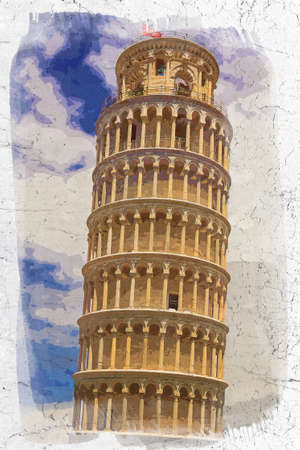 Leaning Tower of Pisa on old paper, Italy, watercolor painting