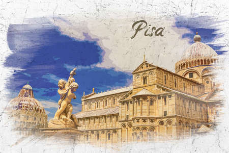 Watercolor painting of ancient monuments in Pisa, Italy, Europe