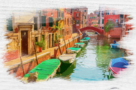 Few boats on canal in Venice, Italy, watercolor painting