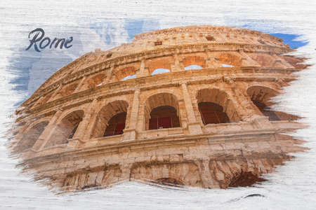 Stunning and big Colosseum in Rome, Italy, watercolor painting