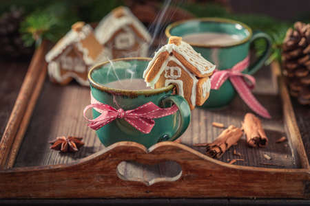 Closeup of gingerbread cottages with sweet chocolate as Christmas snack Zdjęcie Seryjne