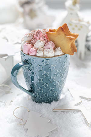 Closeup of homemade chocolate for Christmas with marshmallows on snowy table