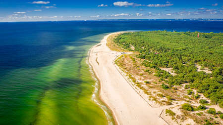 Aerial view of peninsula Hel in summer, Baltic Sea, Poland
