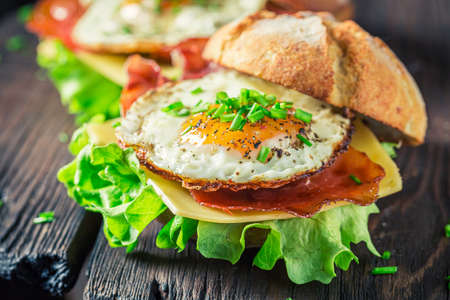 Homemade burger with lettuce, fried egg and bacon on white table