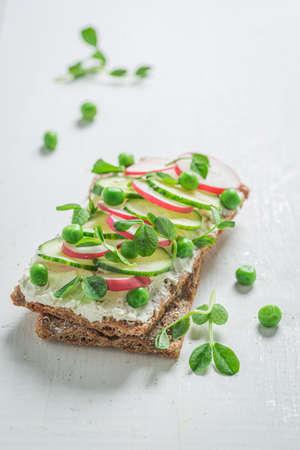 Healthy sandwich with creamy cheese on crispy bread on white table 版權商用圖片