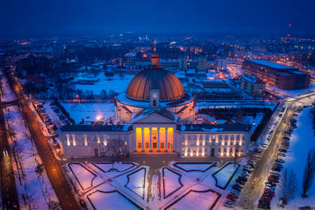 Catholic Basilica of st. Vincent de Paul, Bydgoszcz at night, aerial view of Poland