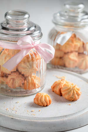 Delicious shortbread cookies as crunchy and vanilla snack on white table