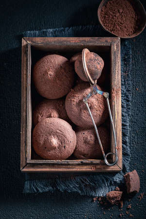 Delicious chocolate shortbreads as a Danish sweet dessert on dark table