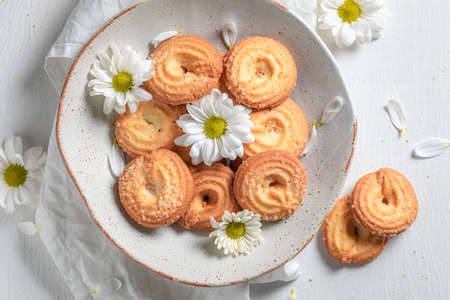 Delicious danish cookies as crunchy and vanilla snack on white table Stok Fotoğraf