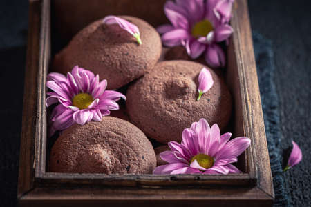 Delicious dark chocolate cookies in an old wooden box on dark table Stok Fotoğraf