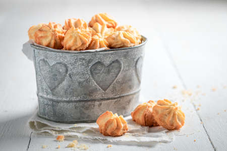 Sweet shortbread cookies as crunchy and vanilla snack on white table