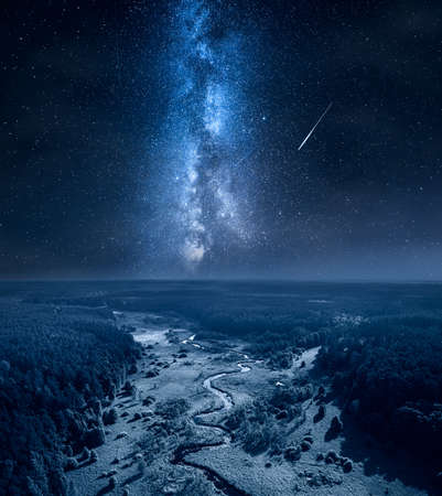 Milky way and falling stars over curvy river and swamps. Nature in Poland Zdjęcie Seryjne