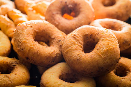 Homemade donuts freshly baked. Homemade pastries. Donuts for Fat Thursday. Foto de archivo