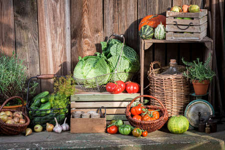 Supplies for winter. Harvest Festival in Poland. Summer harvest in the countryside.