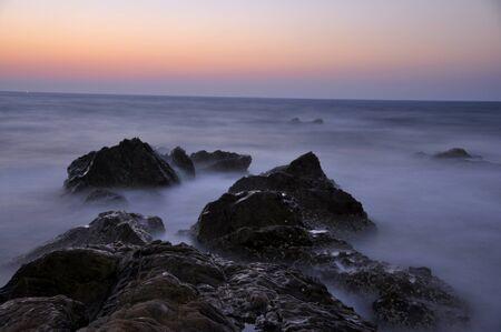 ビーチの夕日 写真素材