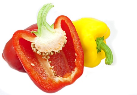 Image of sliced red and yellow capsicum Фото со стока