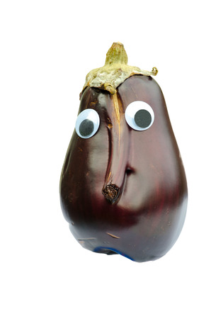 Eggplant with eyes and nose