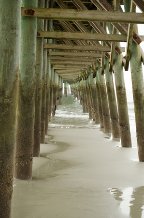 Fishing Pier at Myrtle Beach. Water, ocean.