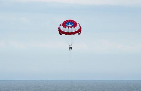 Parasailing at myrtle beach. Sport, parachute 版權商用圖片