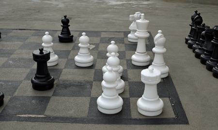 Chess pieces on ground. King, pawn