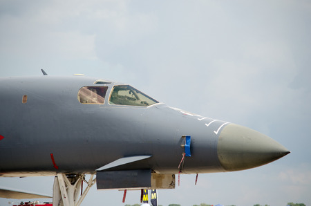 Military fighter bomber at air show