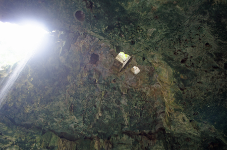 Cenote sinkhole in Mexico. Light, entering