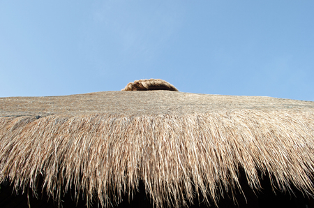 Roof made up of hay. Tourism, architecture Stock Photo