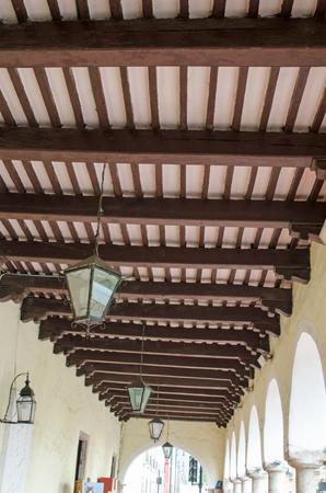 Interior of Ceiling with brown wooden beams Zdjęcie Seryjne