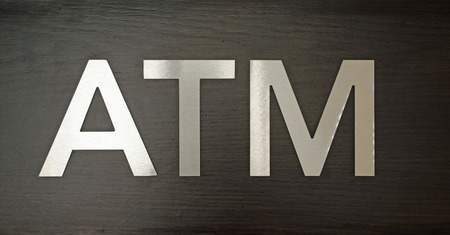 Sign for ATM automatic teller machine. Finance, background Stok Fotoğraf - 106665106