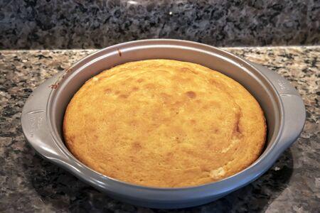 bowl of freshly baked cake Stock Photo