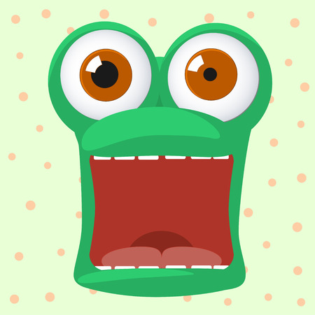 eyes wide open: crazy frog character is afraid with open mouth Illustration