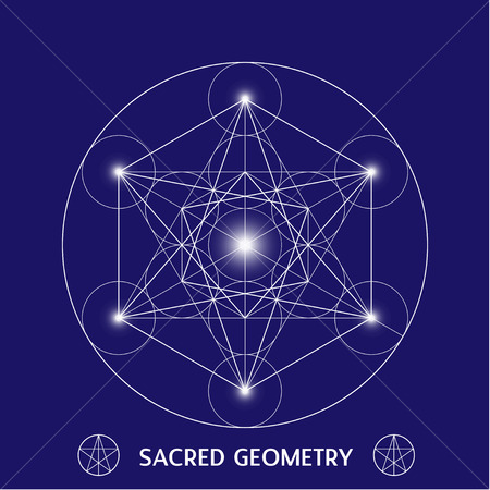 solids: Metatrons Cube symbol sacred geometry vector illustration Illustration