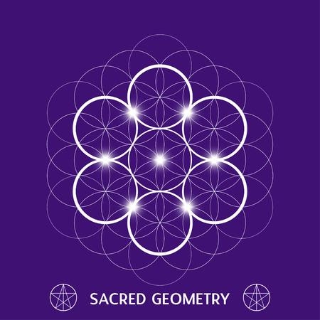 spiritual meditation creation: Flower of life symbol. Sacred geometry vector illustration