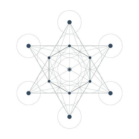 spiritual meditation creation: Metatrons Cube sacred geometry vector illustration on white background Illustration
