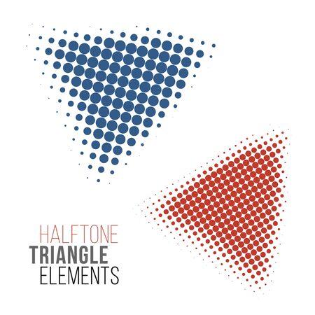 gradation art: color halftone triangles design elements. Stock vector illustration