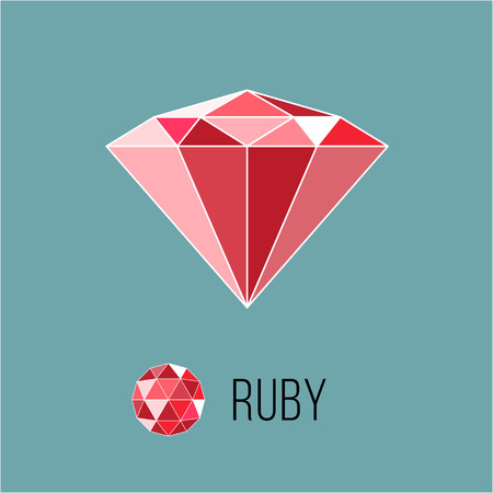 ruby: Ruby flat icon with top view. Rich luxury symbol.