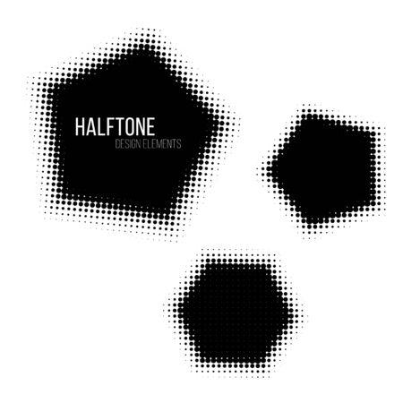 gradation art: Black halftone design elements. Illustration