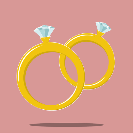 diamond rings: two rings with diamond gem marriage symbol. Stock vector icon Illustration