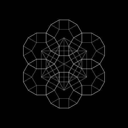 Harmonic in sacred geometry Plato. The ratio of hexagon. Stock vector illustration